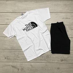 Мужской летний комплект шорты и футболка мужская The North Face белая с черным. Живое фото