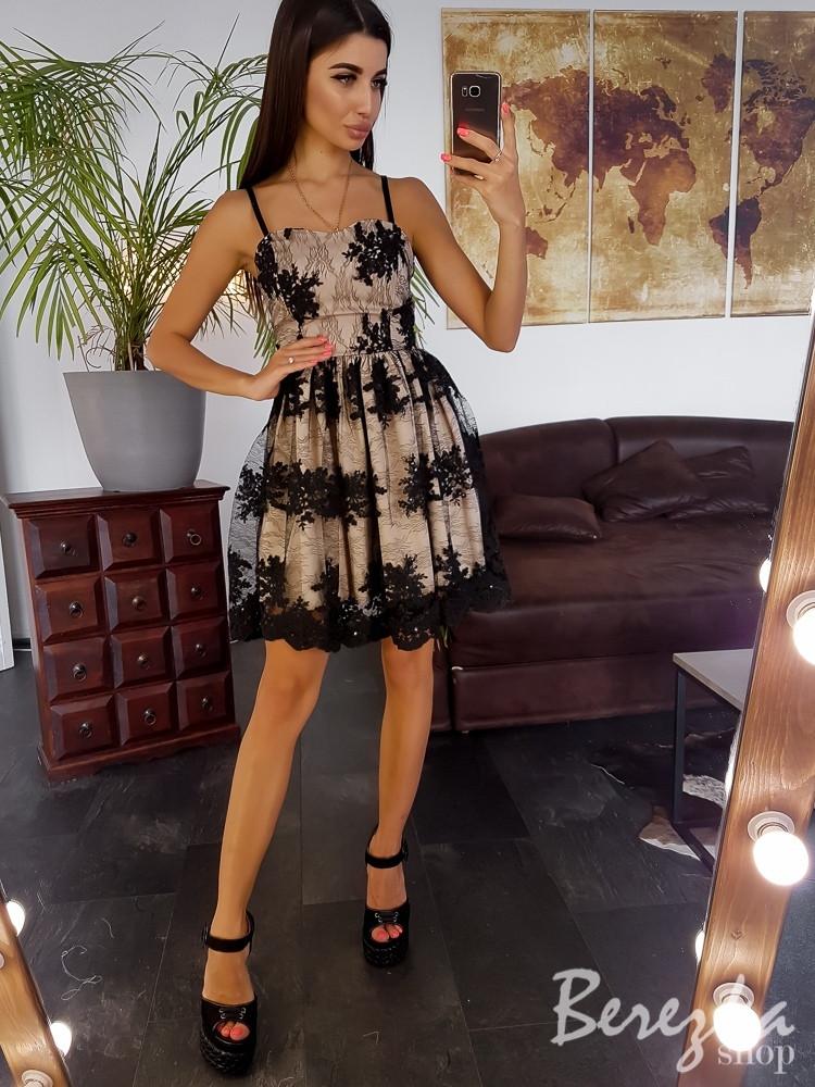 Нарядное платье с пышной юбкой на бретелях с кружевом на подкладе 66plt2971