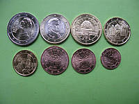 Австрія , набір монет євро 2017 р , UNC.