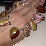 Ожерелье колье натуральный мукаит яшма в серебре Индия, фото 6