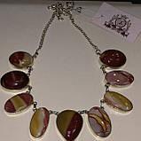 Ожерелье колье натуральный мукаит яшма в серебре Индия, фото 3