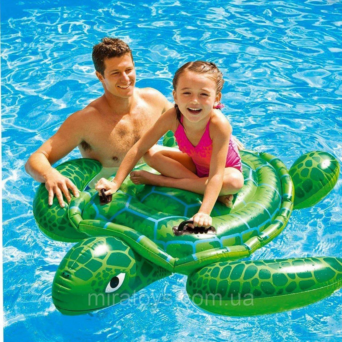 ✅Дитячий надувний пліт для катання Intex 57524 «Черепаха», 150 х 127 см