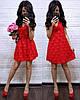 Короткое вечернее платье шифон с гипюром ресничка, красное