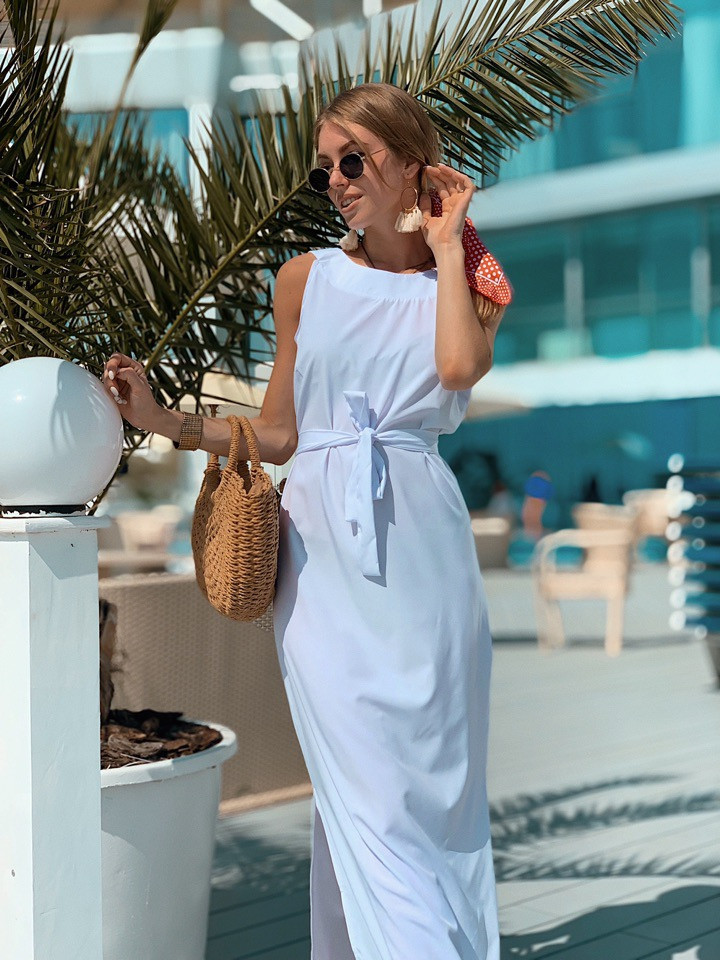 Летнее легкое платье без рукава длинное с поясом 73plt3004