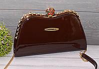 Элегантная лаковая сумка-клатч коричневая, фото 1