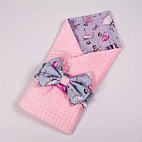 Летний конверт-плед на выписку с плюшем розового цвета BabySoon 78х85см Балеринки №2, фото 1