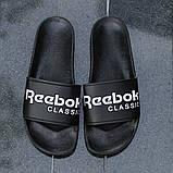 Мужские сланцы Reebok (full black), черные тапочки Рибук, шлепанцы Рибок, шлепанцы Рибук, фото 5