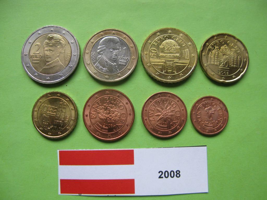 Австрия , набор евро монет 2008 г. UNC.