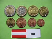 Австрія , набір монет євро 2008 р. UNC.