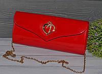 Красный Женский Лаковый Вечерний Клатч, фото 1