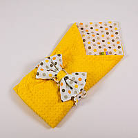 Летний конверт-плед на выписку с плюшем желтого цвета BabySoon 78х85см Солнышко №2, фото 1