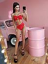 Раздельный женский купальник бандо с завышенными плавками 66bod264, фото 2