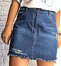 Джинсовая короткая женская юбка на лето 3jus253, фото 3