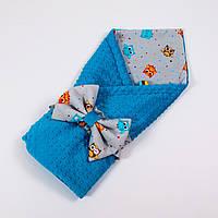 Летний конверт-плед на выписку с плюшем лазурного цвета BabySoon 78х85см Забавные совы , фото 1