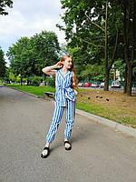 Женский костюм штаны + жилет с лампасами в белую полоску в голубом и черном цвете. Размер S, M, L. Китай