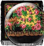 """Павловопосадский платок шерстяной с шерстяной бахромой """"Вечерняя заря"""", 89x89 см рис. 1264-18, фото 2"""