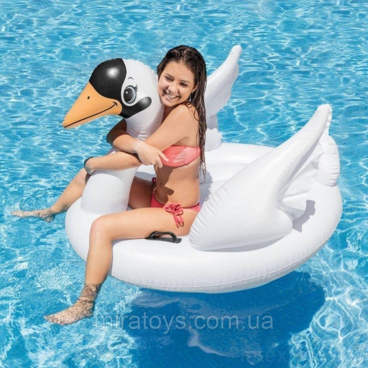 ✅Надувной плотик для катания Intex 57557 «Лебедь», 130 х 102 х 99 см