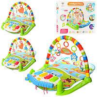 Развивающий коврик для младенца с музыкальным игровым центром - пианино, дуга, подвески, 698-56