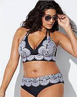 Большой 60 размер! Модный раздельный купальник для крупных женщин, лиф большая мягкая чашка с узором, завязки.