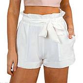 Стильні жіночі шорти з бантом-поясом