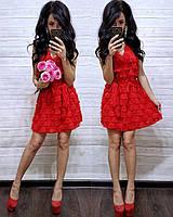 Красное гипюровое платье, фото 1