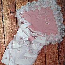 Конверт Одеяло для новорожденных на выписку с вышивкой лето 78х78см Пудровый