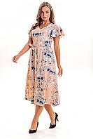 Летнее женское платье длина миди К 00525 с 01 бежевый