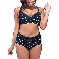 Большой размер 56-58, летний синий женский раздельный купальник в горох для пышных женщин, высокие трусы