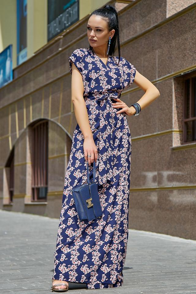 Женское летнее нарядное платье, синее с цветочным принтом, повседневное, молодёжное, длинное, макси, в пол