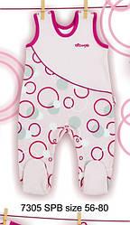 Высокие ползунки хлопковые для девочки розовые в кружочки р. 62-80 см (Nicol, Польша)