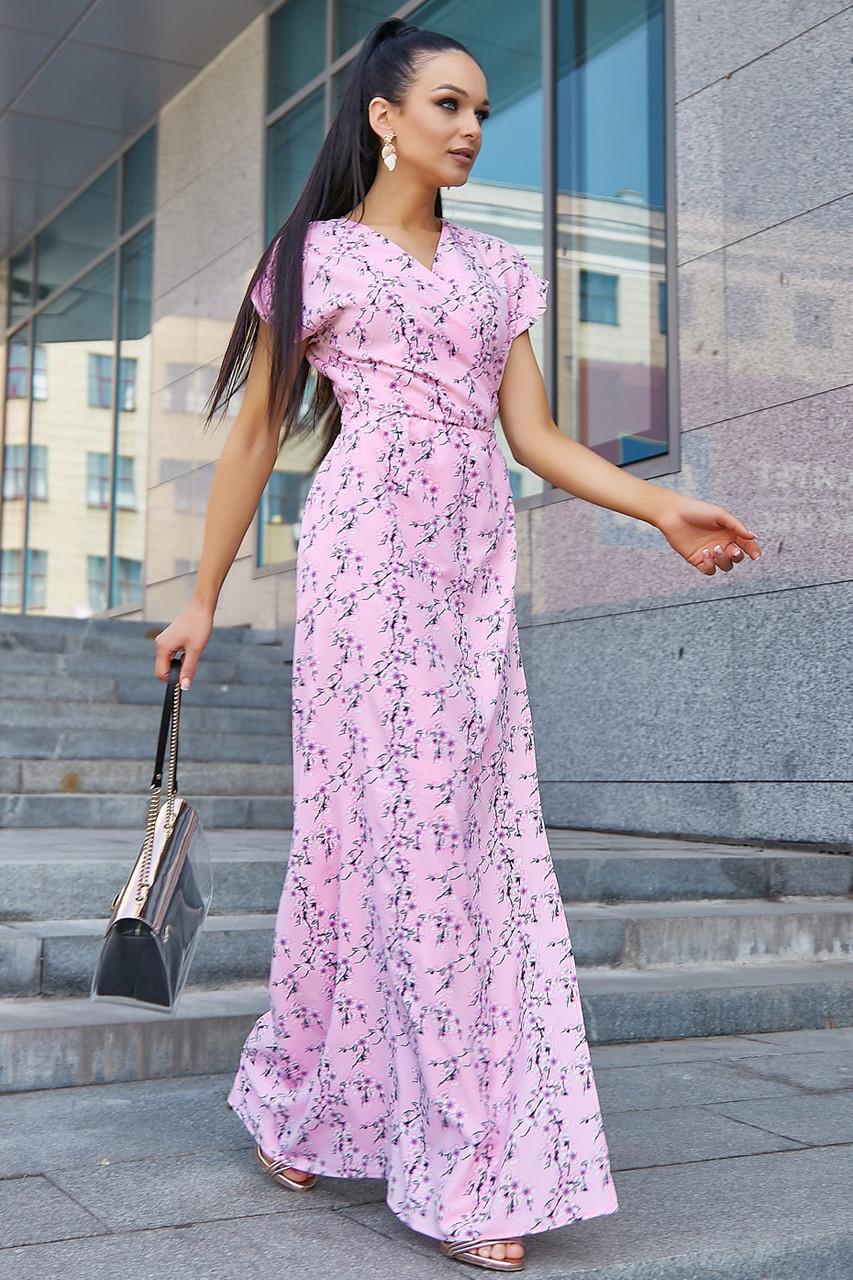 Розовое летнее платье в пол с цветочным принтом