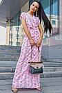 Розовое летнее платье в пол с цветочным принтом, фото 2