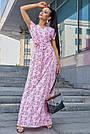 Розовое летнее платье в пол с цветочным принтом, фото 3