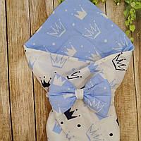 Конверт Одеяло для новорожденных на выписку с бантом  лето 78х78см Короны голубой