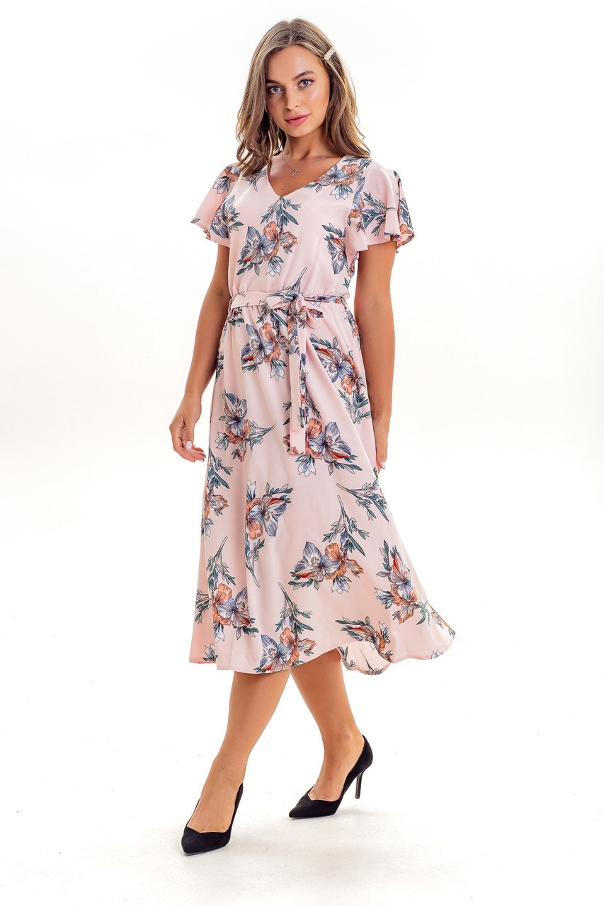 Летнее женское платье с цветочным принтом