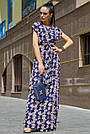 Синее платье с цветочным принтом длинное женское, фото 2