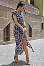 Синее платье с цветочным принтом длинное женское, фото 3