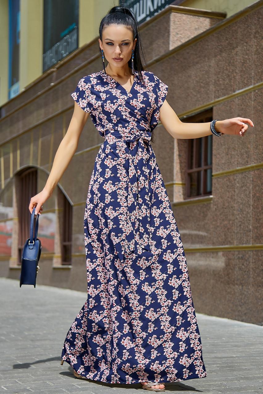 Синее платье с цветочным принтом длинное женское
