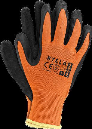 Рабочие перчатки RTELA PB из полиэстера покрытые латексом черного цвета. REIS Польша, фото 2