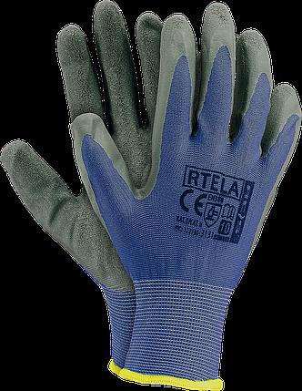 Рабочие перчатки RTELA NS из полиэстера и покрыты латексом серого цвета. REIS Польша, фото 2