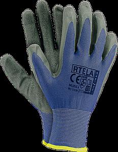 Рабочие перчатки RTELA NS из полиэстера и покрыты латексом серого цвета. REIS Польша