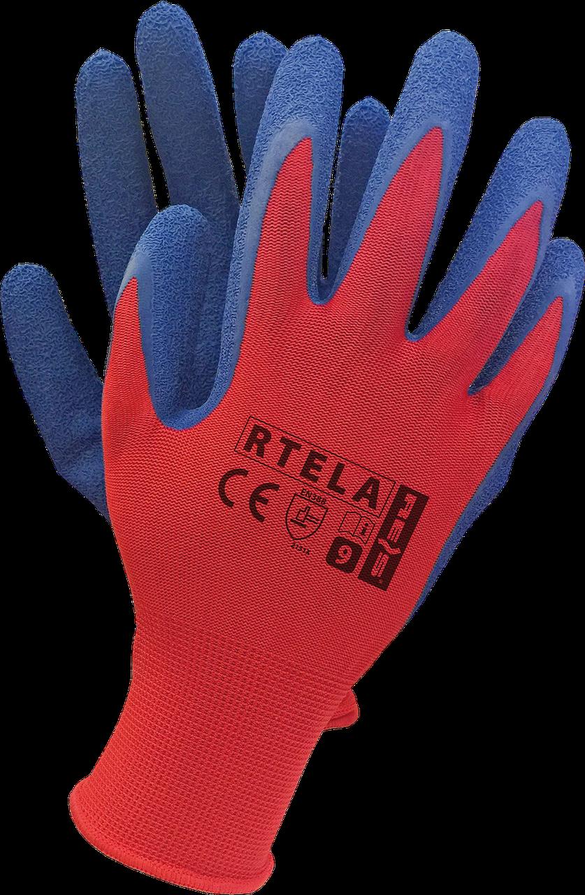 Перчатки рабочие  RTELA CN из полиэстера и покрыты латексом синего цвета.  REIS RAW POL Польша