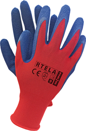 Перчатки рабочие  RTELA CN из полиэстера и покрыты латексом синего цвета.  REIS RAW POL Польша, фото 2