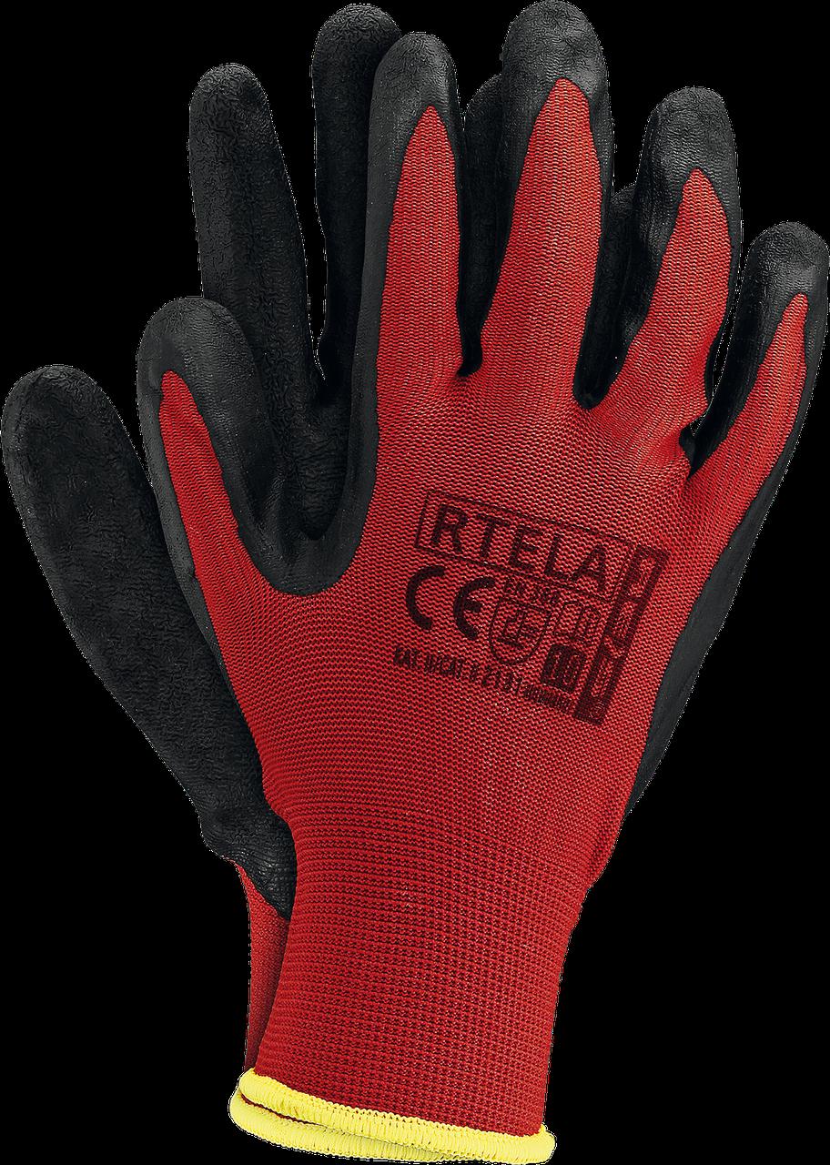 Перчатки рабочие RTELA CB из полиэстера и покрыты латексом черного цвета. Reis Польша