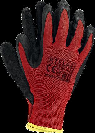 Перчатки рабочие RTELA CB из полиэстера и покрыты латексом черного цвета. Reis Польша, фото 2