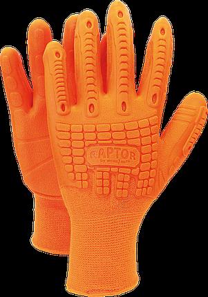 Перчатки защитные RAPTOR PP из хлопка и полиуретановых волокон Reis Польша, фото 2