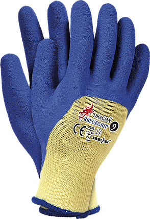 Защитные перчатки DRAGON RBLUEGRIP YN покрытые латексом голубого цвета. Reis Польша, фото 2