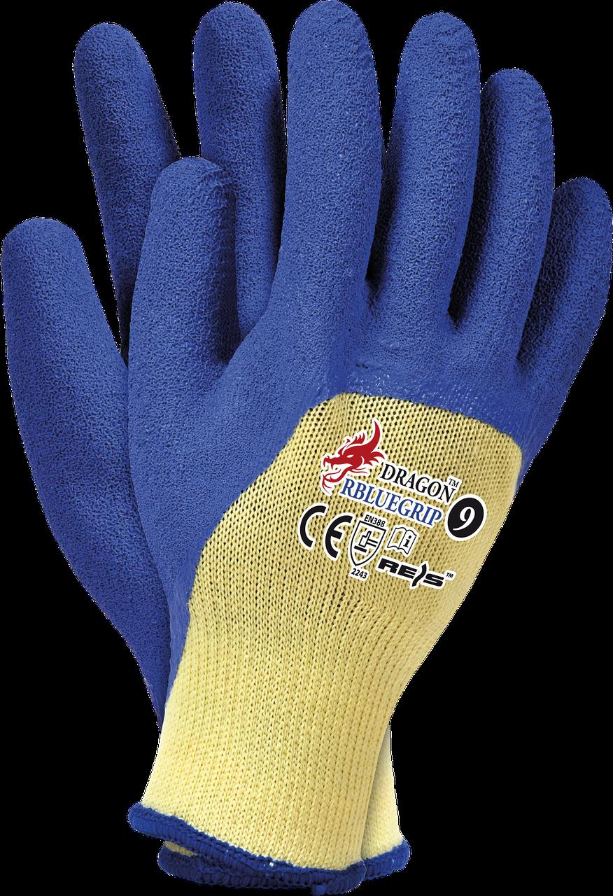 Защитные перчатки DRAGON RBLUEGRIP YN покрытые латексом голубого цвета. Reis Польша