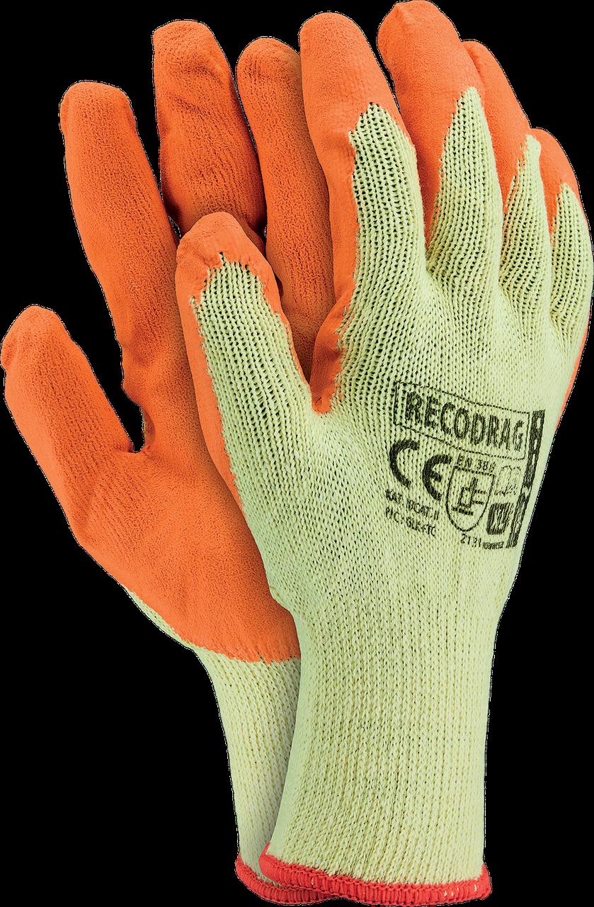 Перчатки защитные RECODRAG YP из трикотажа покрытые латексом оранжевого цвета. REIS Польша