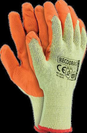 Перчатки защитные RECODRAG YP из трикотажа покрытые латексом оранжевого цвета. REIS Польша, фото 2